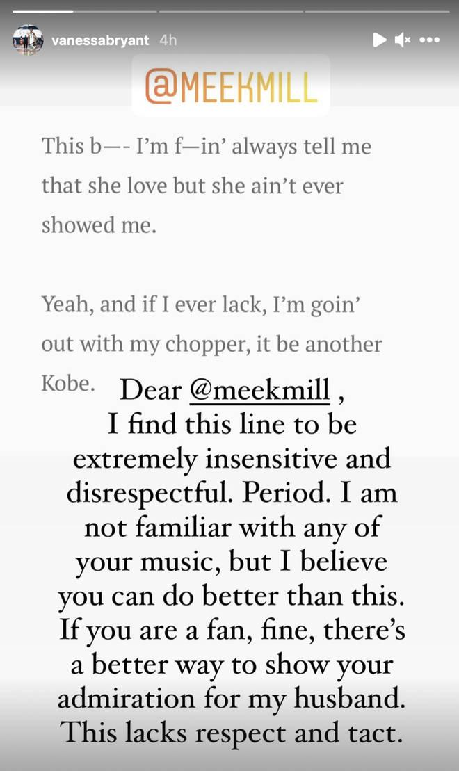 Vanessa Bryant calls out Meek Mill for his Kobe Bryant lyric