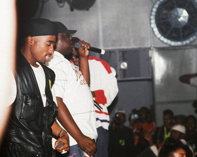 Tupac Shakur and Biggie Smalls perform together at the Palladium on July 23, 1993 in New York