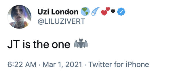 """""""JT is the one,"""" tweeted Lil Uzi Vert about his girlfriend JT."""