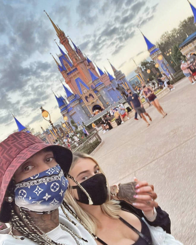 Tyga and Camaryn Swanson on a date at Walt Disney World in Florida.