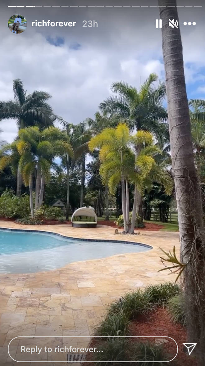 The outside of Rick Ross' home boasts multiple swimming pools.