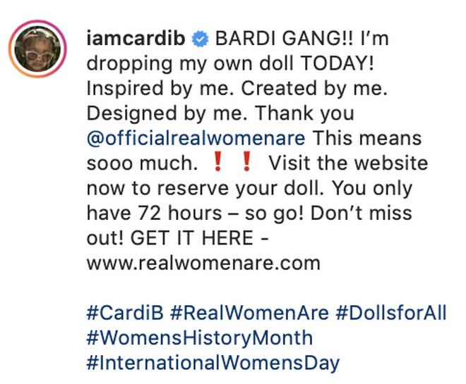 Cardi B reveals she's releasing her doll on Instagram