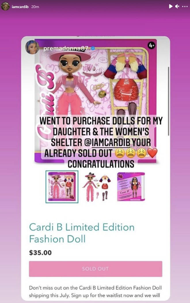 Cardi B's doll sold out moments after it was released on Friday (Mar 5).