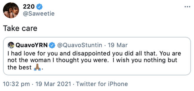 Saweetie responds to Quavo saying she is not the woman he thought she was