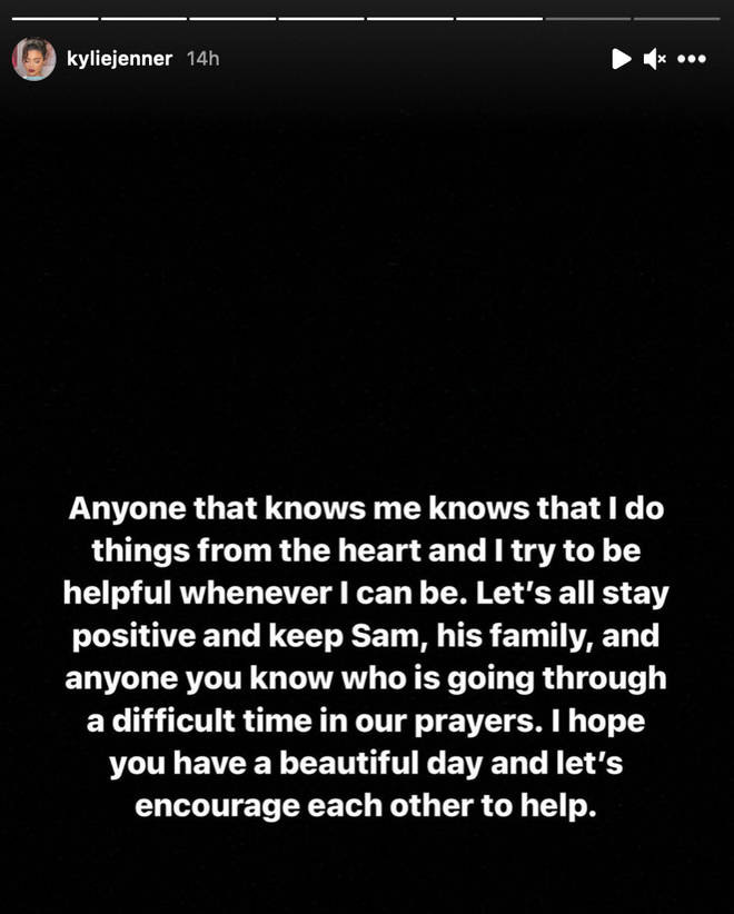 Kylie Jenner sends a positive message about Samuel Rauda amid GoFund Me controversy
