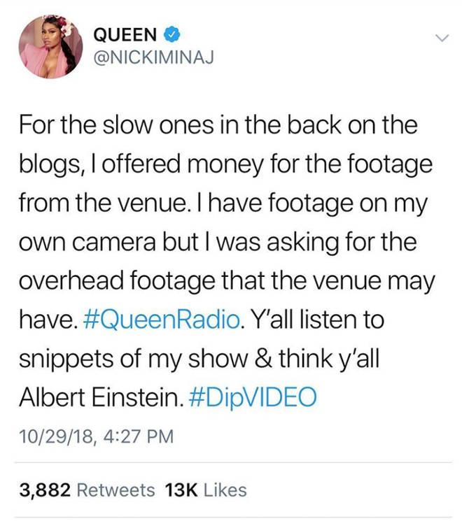 Nicki Minaj Addressing Cardi B Fight