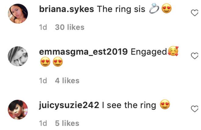 Fans flood Jordyn Woods' comment section after spotting her diamond ring