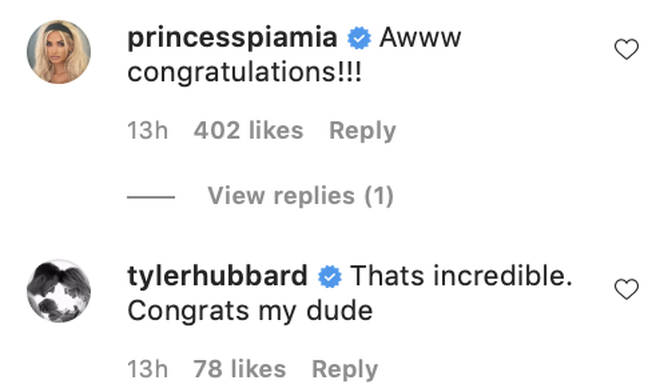The pairs celebrity pals wished them a congratulations underneath Jason Derulo's Instagram post