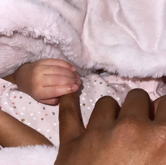 London, who already has two children from previous relationships, posted a tribute to his new baby on Instagram alongside a photo of himself holding her hand.