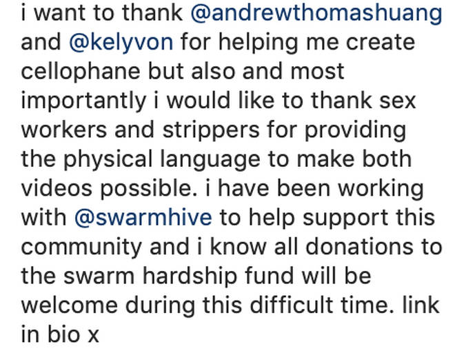 FKA Twigs gives shoutouts to people who heavily contributed to the music video for 'Cellophane'