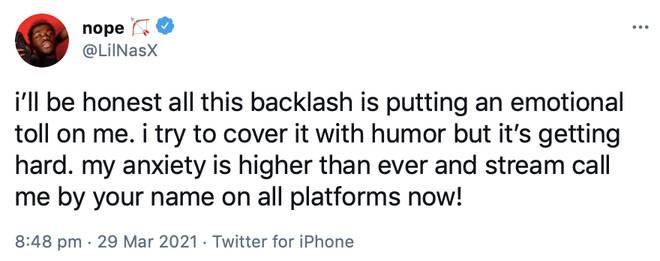 Lil Nas X responds after receiving backlash online