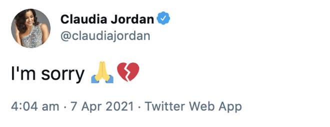 Claudia Jordan apologises for tweeting false information about DMX's condition.