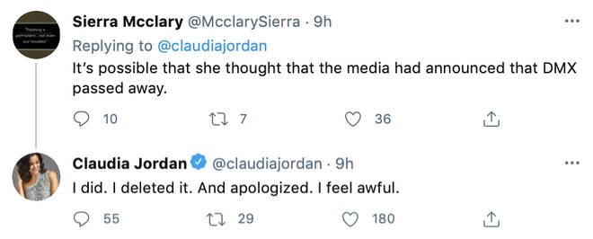 Claudia Jordan admitted she thought the media had announced DMX has passed away.