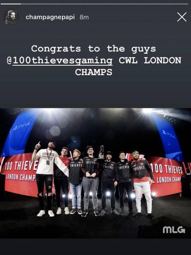 Drake congratulates 100 Thieves' victory at CWL London