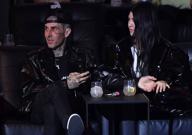 Travis and Kourtney confirmed their relationship in February (pictured here in March 2021).