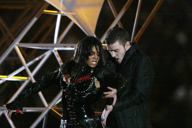 Janet Jackson and Justin Timberlake perform during the halftime show at Super Bowl XXXVII in 2004.