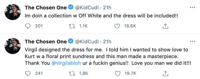 Kid Cudi reveals he is doing a collection with Virgil Abloh's brand 'Off-White', which will include the floral dress.
