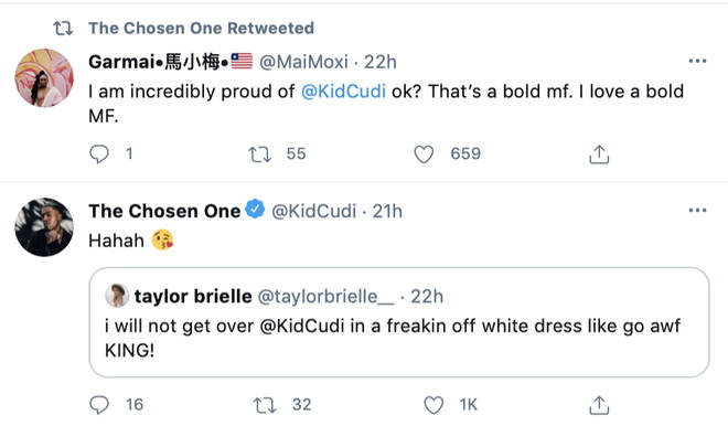 Kid Cudi responds to his fans who are praising him over wearing the floral dress on SNL.