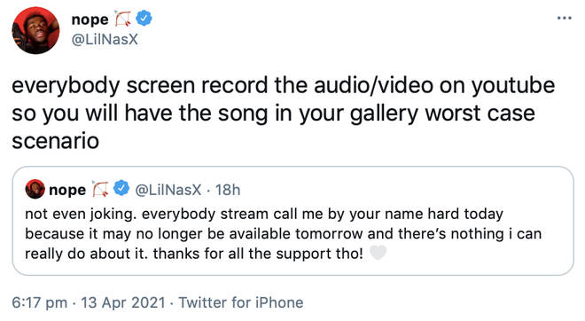 Lil Nas X encourages fans to screen record the audio/video to 'Montero', as it may no longer be on streaming services.