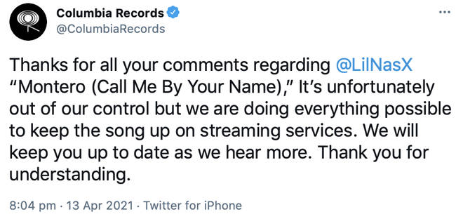 Columbia Records confirms Lil Nas X's track may be removed from streaming services.