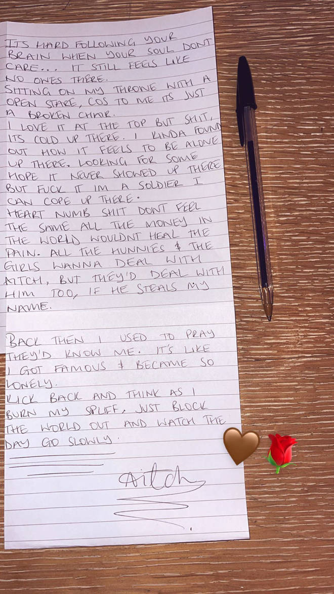 Aitch shares deep handwritten lyrics on his Instagram story