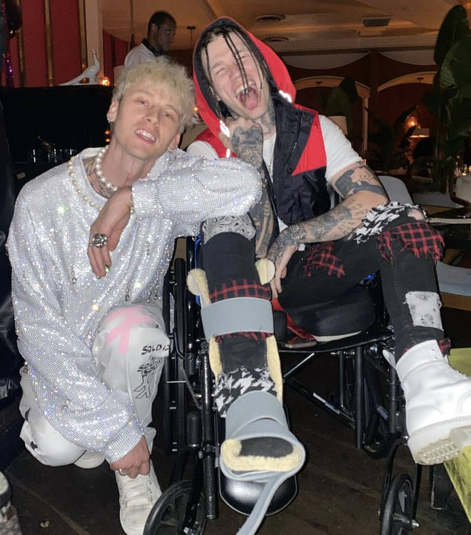 Machine Gun Kelly posed for a pic with his drummer Rook.