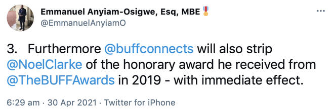 The Founder of British Urban Film Festival reveals Noel Clarke will be stripped of his honorary award from 2019.