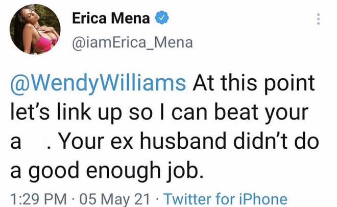 Erica Mena responded to Wendy Williams' comments on her pregnancy and marriage on Twitter.