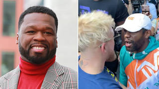 50 Cent trolls Floyd Mayweather's hair after Jake Paul steals his hat