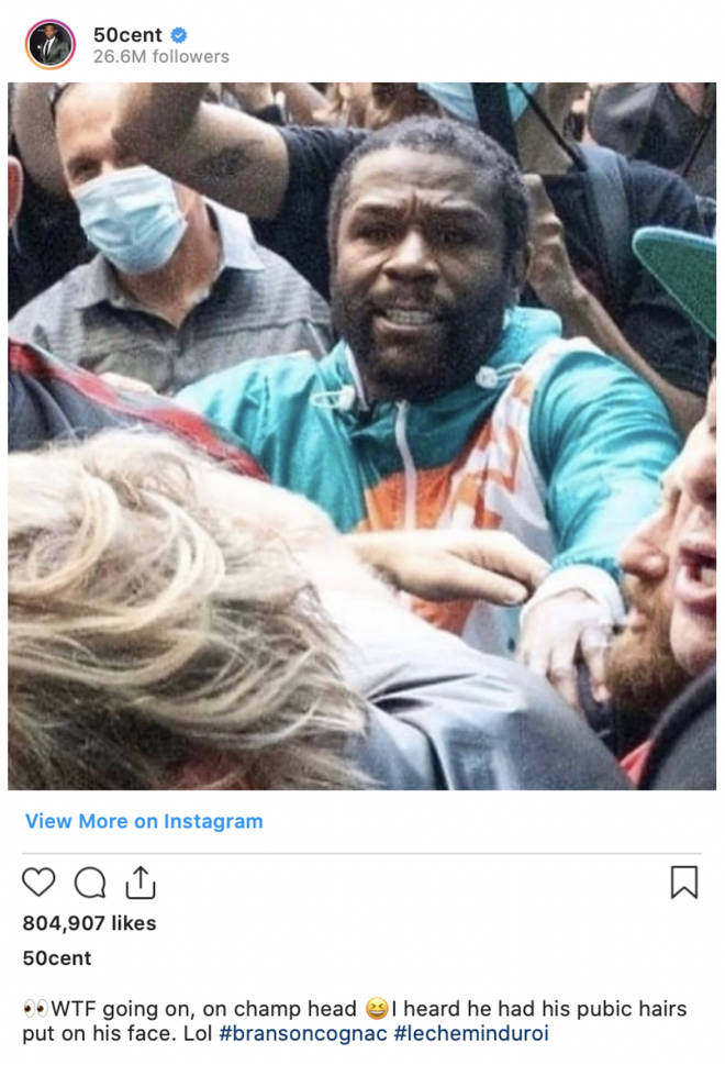 50 Cent trolled Mayweather's hair following the boxer's scuffle with YouTuber Jake Paul.