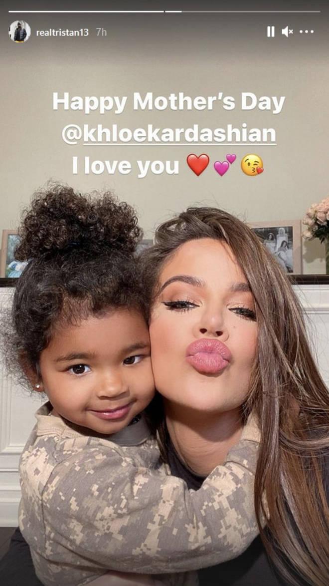 Tristan Thompson pays tribute to Khloe Kardashian on Mother's Day.