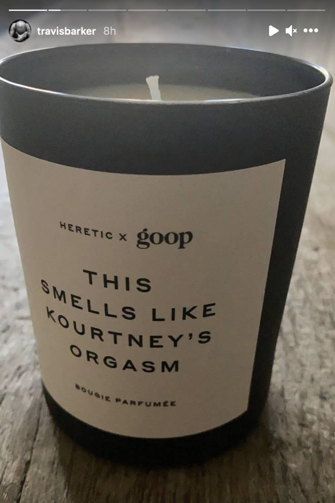Travis Barker reveals his candle that 'smells like Kourtney's orgasm'.