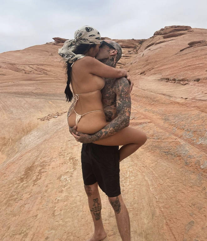 Kourtney Kardashian and Travis Barker display their love for each other in cute photos on Instagram.