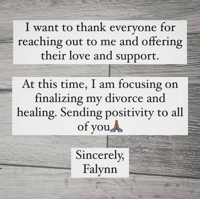 Falynn took to Instagram to release a statement following Porsha and Simon's engagement news.