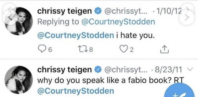 """Chrissy Teigen tells Courtney Stodden she """"hates"""" them in old tweets."""