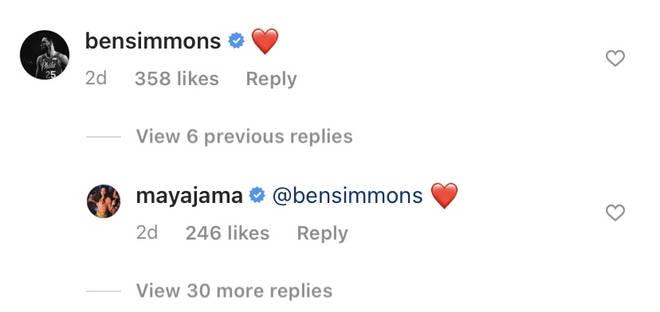 Ben Simmons and Maya Jama have a flirty exchange underneath her Instagram photo.
