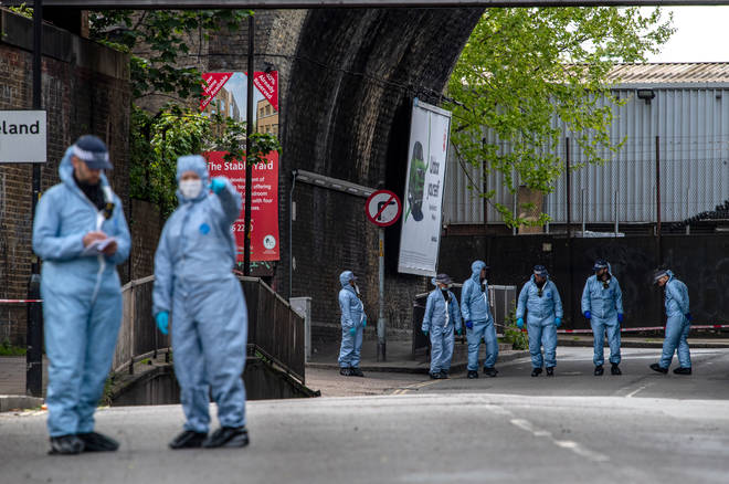 Police forensic officers are investigating the shooting of Sasha Johnson on May 24, 2021 in Southwark.