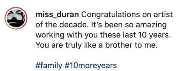 In the now-deleted post, Duran paid tribute to Drake for winning the 'Artist of the Decade' at the Billboard Music Awards.