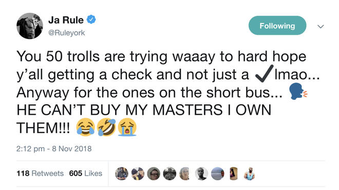 Ja Rule responded to 50's latest vibe on Twitter.