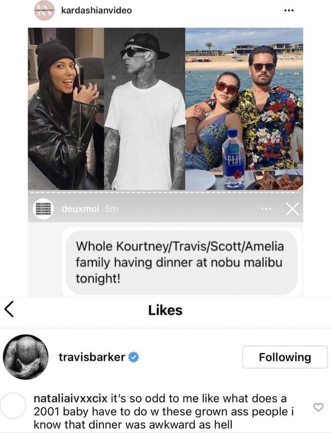 Travis Barker 'likes' savage comment about Scott Disick's girlfriend Amelia Hamlin.