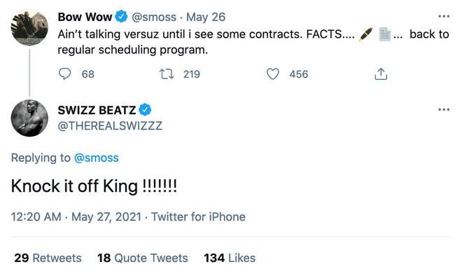 Swizz beats shut down Bow Wow's tweet that the Verzuz wasn't going ahead
