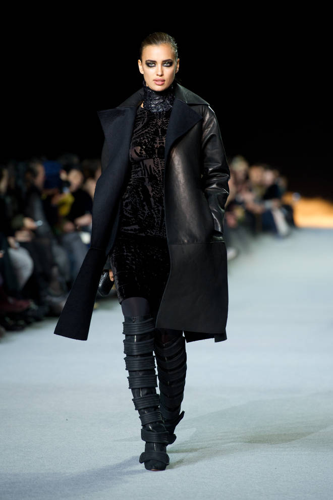 Irina Shayk modelled in Kanye West Runway show at Paris Fashion Week in 2012.
