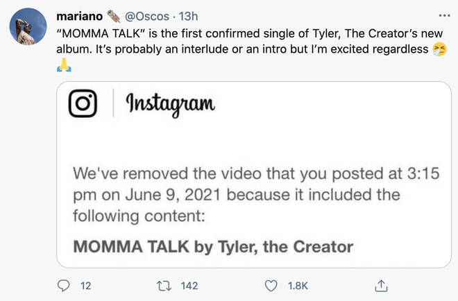 'MOMMA TALK' may be the first single from Tylers rumoured upcoming album