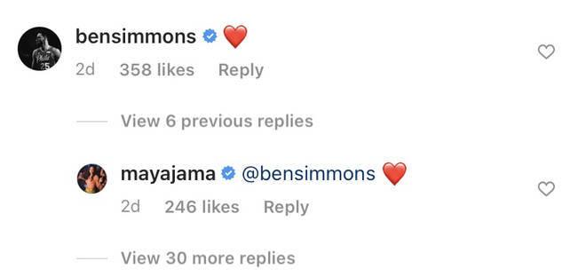 Maya and Ben exchanged comments under her Instagram post