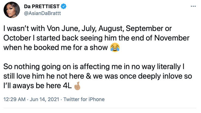 Asian Doll has refuted claims that Von cheated on her