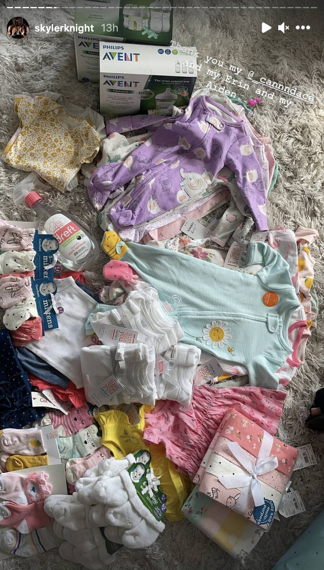Skyler Knight shares a photo of the gifts she received from Kayla B at her baby shower.