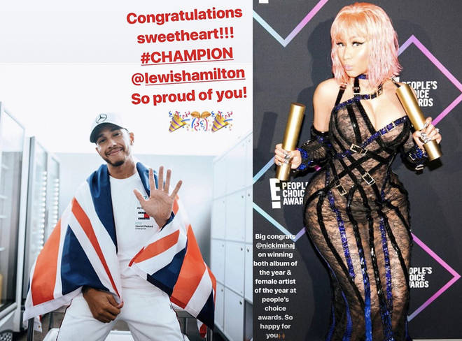 "Nicki hailed Hamilton as her ""champion"", while Lewis said he was ""so happy"" for the rapper."