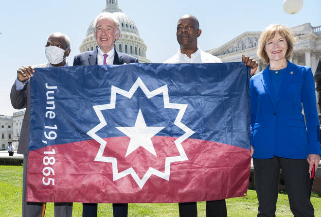 """The Juneteenth flag includes an exaggerated star of Texas """"bursting with new freedom throughout the land."""""""