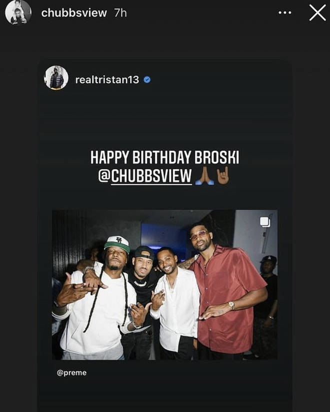Chubbz shares a photo from his birthday Bash with Tristan Thompson and a few others.