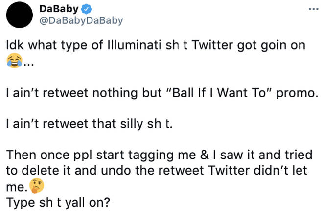 DaBaby denies purposely retweeting the offensive tweet about Megan Thee Stallion and Tory Lanez.